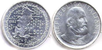 coin Italy 500 lire 1982