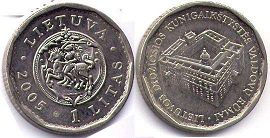 coin Lithuania 1 litas 2005
