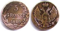 coin Poland 5 groszy 1840