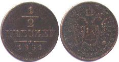coin Austrian Empire 1/2 kreuzer 1851