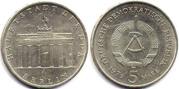 coin East Germany 5 mark 1971
