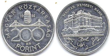 coin Hungary 200 forint 1992