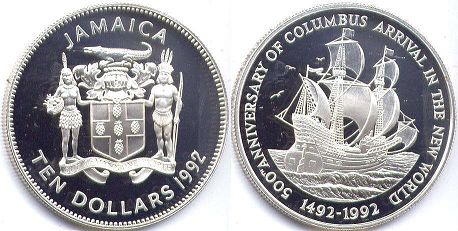 coin Jamaica 10 dollars 1992
