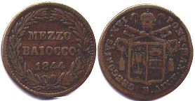 coin Papal State 1/2 baiocco 1844