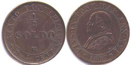 coin Papal State 1/2 soldo 1867