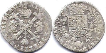 coin Spanish Netherlands 1/4 patagon ND (1612-1621)