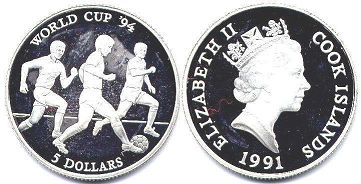 coin Cook Islands 5 dollars 1991