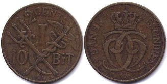 coin Danish West Indies 2 cents 1905