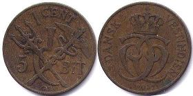 coin Danish West Indies 1 cent 1905