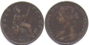 coin UK old coin half penny 1862