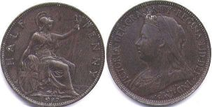 coin UK old coin half penny 1897
