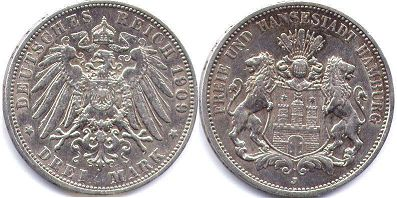Münze Hamburg 3 mark 1909
