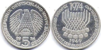 coin Germany 5 mark 1974