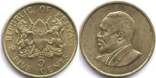 coin Kenya 5 cents 1967