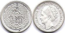 coin Netherlands 25 cents 1941