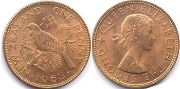 coin New Zealand 1 penny 1963