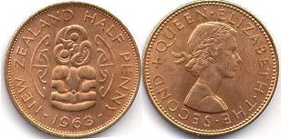 coin New Zealand 1/2 penny 1963