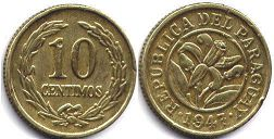 coin Paraguay 10 centimos 1947