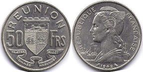 coin Reunion 50 francs 1962