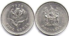 coin Rhodesia 5 cents 1976