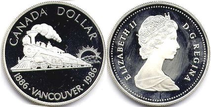 coin canadian commemorative coin 1 dollar 1986