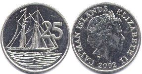 coin Cayman Islands 25 cents 2002