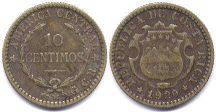 coin Costa Rica 10 centimos 1920