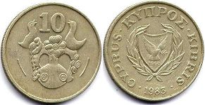 coin Cyprus 10 cents 1983