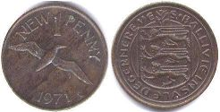 coin Guernsey 1 new penny 1971