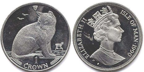 coin Isle of Man crown 1990