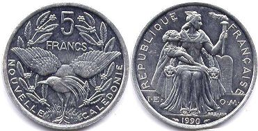 coin New Caledonia 5 francs 1990