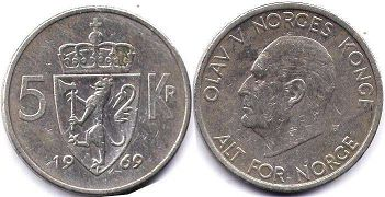 coin Norway 5 kroner 1969