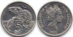 coin New Zealand 5 cents 1988