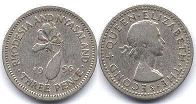 coin Rhodesia and Nyasaland 3 pence 1956