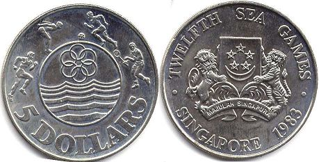 coin Singapore 5 dollars 1983