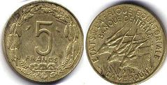 coin Equatorial African States 5 francs 1972