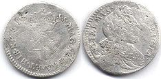 coin English old silver - William III 4 pence