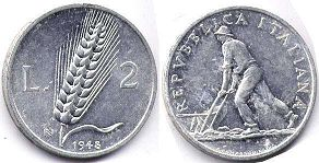 coin Italy 2 lire 1948