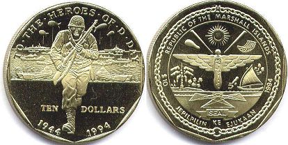 coin Marshall Islands 10 dollars 1994