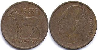 coin Norway 5 ore 1963