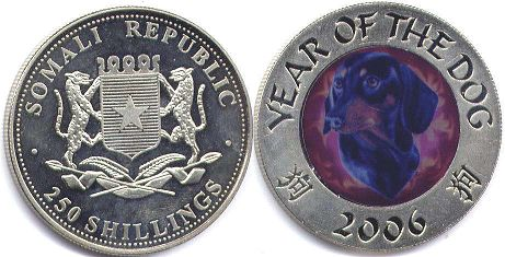 coin Somalia 250 shillings 2006 dog