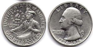 coin US commemorative coin 1/4 dollar 1976 Bicentennial quarter