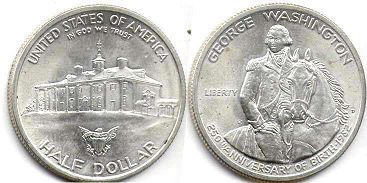 coin US commemorative coin 1/2 dollar 1982 Washington silver