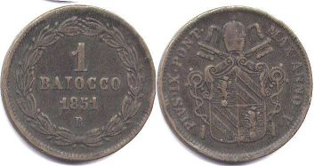 coin Papal State 1 baiocco 1851