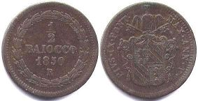 coin Papal State 1/2 baiocco 1850