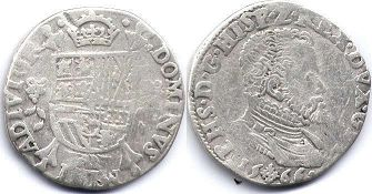 coin Spanish Netherlands 1/5 filipsdaarder 1566