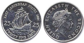coin Eastern Caribbean States 25 cents 2004