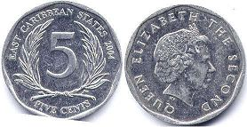coin Eastern Caribbean States 5 cents 2004