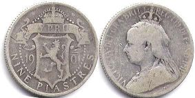 coin Cyprus 9 piasters 1901