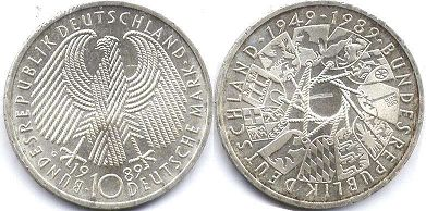 coin Germany 10 mark 1989